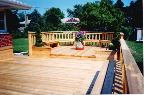 Custom Cedar Wood Deck in Wilmette